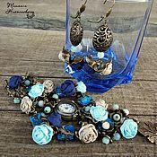 Украшения handmade. Livemaster - original item Five minutes to remember the sea. Set (watch and earrings). Handmade.