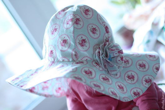 Шапки и шарфы ручной работы. Ярмарка Мастеров - ручная работа. Купить Широкополая шляпа для девочки. Handmade. Голубой, шляпка для девочки