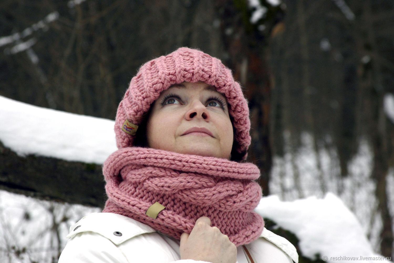 Снуд (шарф закрытый) с косой в два оборота Пыльная роза, Шарфы, Москва,  Фото №1