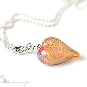 Кулон Золотистое сердце лэмпворк стекло подарок влюбленным