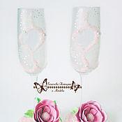 Свадебный салон ручной работы. Ярмарка Мастеров - ручная работа Бисерный декор бокалов в бело-розовых тонах. Handmade.