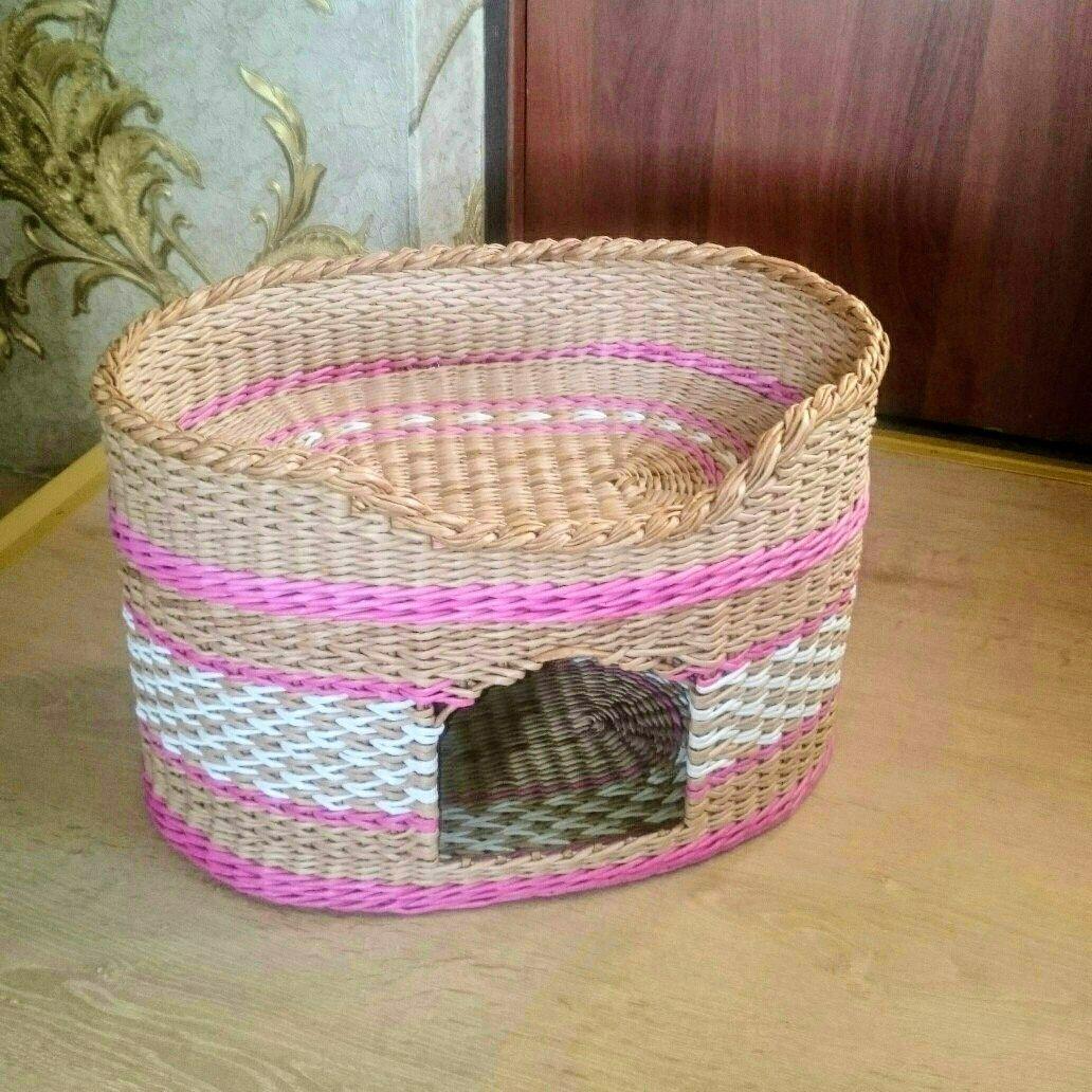 Домик для кошки с лежанкой плетеный из бумажных трубочек, Домик для питомца, Заречный,  Фото №1