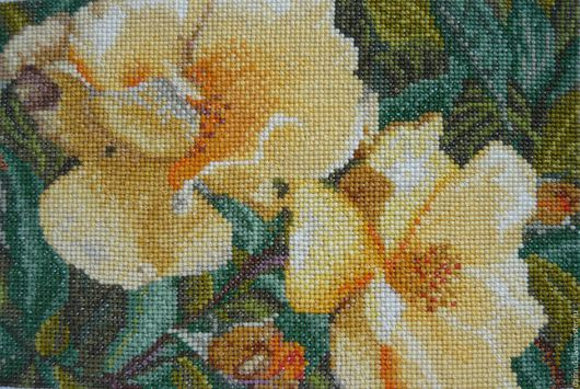 Текстиль, ковры ручной работы. Ярмарка Мастеров - ручная работа. Купить Цветущий сад. Ручная вышивка. Handmade. Желтый