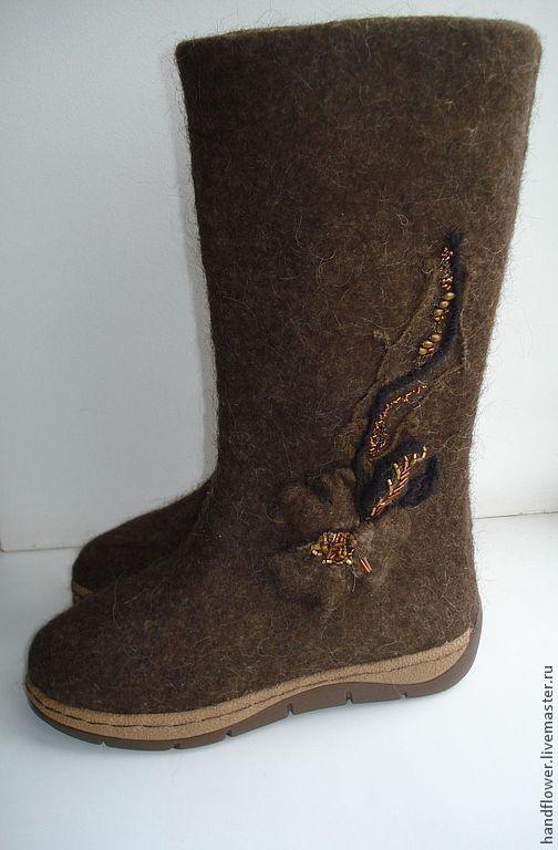 Обувь ручной работы. Ярмарка Мастеров - ручная работа. Купить Сапоги-валенки. Handmade. Коричневый, шерсть для валяния
