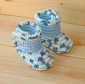 Работы для детей, handmade. Livemaster - original item Knitted shoes Booties boots with plush, children`s shoes, blue melange. Handmade.