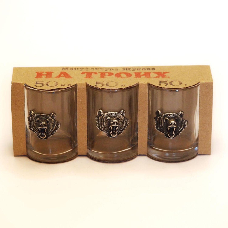 Set of stacks 'Bear. Three.' Stack. Glass. Glass. Glass, Shot Glasses, Zhukovsky,  Фото №1