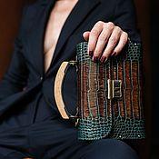 Сумки и аксессуары handmade. Livemaster - original item Leather and wood dragon women`s clutch bag. Handmade.