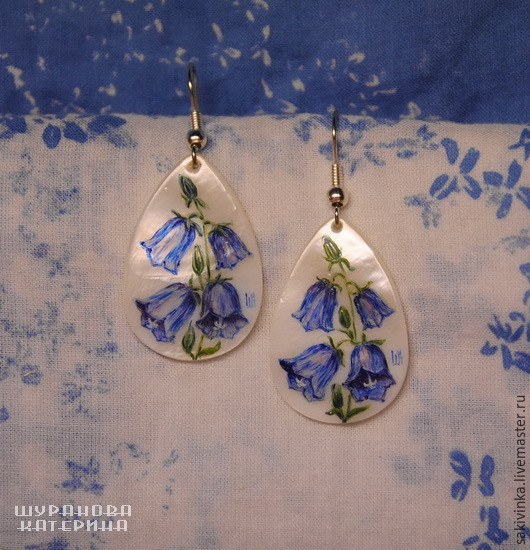 """Серьги ручной работы. Ярмарка Мастеров - ручная работа. Купить """"Колокольчики"""" - перламутровые серьги. Handmade. Синий, цветок, серьги"""