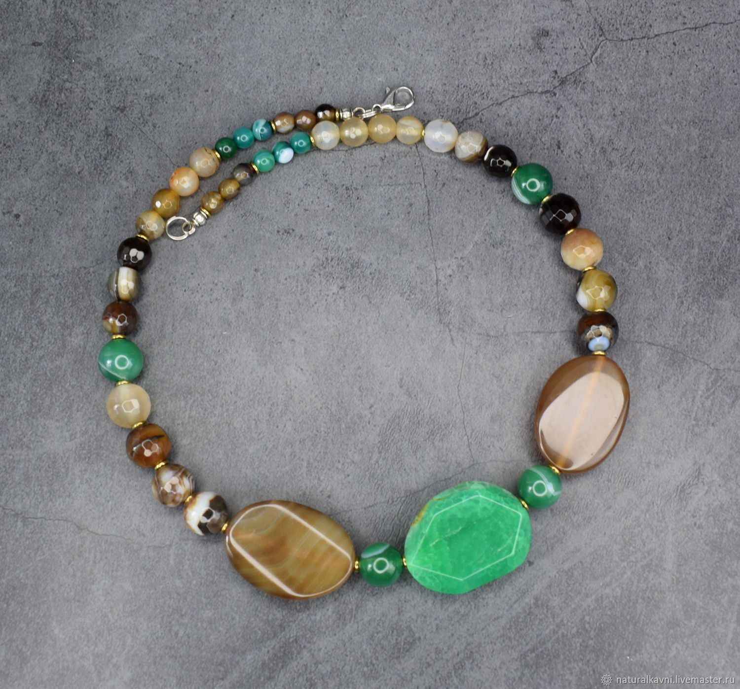 Beautiful necklace natural green and brown agate, Necklace, Moscow,  Фото №1