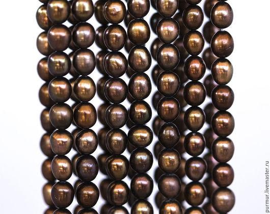 Для украшений ручной работы. Ярмарка Мастеров - ручная работа. Купить 12001_Овальный коричневый жемчуг 7-8мм,Натуральный пресноводный жемчуг. Handmade.