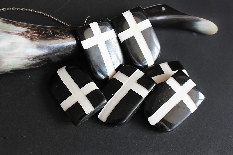 Pendants Buffalo bone bleached Shield and Cross 48h31mm, Pendants, Bryansk,  Фото №1