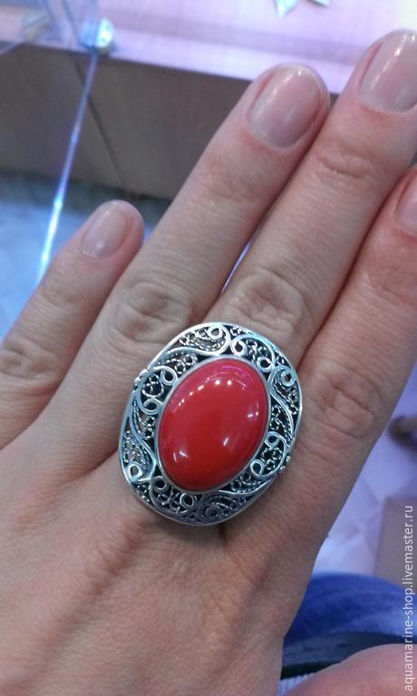 Кольца ручной работы. Ярмарка Мастеров - ручная работа. Купить Кольцо Бенуйя. Handmade. Ярко-красный, серебро