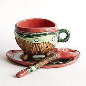 """Посуда ручной работы. Ярмарка Мастеров - ручная работа Чайная пара с ложечкой """"Лесной коралл"""". Handmade."""