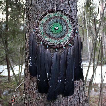 """Feng Shui handmade. Livemaster - original item Ловец снов """"Лесные песни"""" с перьями глухаря и камнями, около 60 см. Handmade."""
