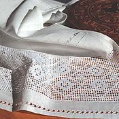 Русский стиль ручной работы. Ярмарка Мастеров - ручная работа Рушник большой, дорожка на стол, лен, строчевая вышивка, мережка. Handmade.