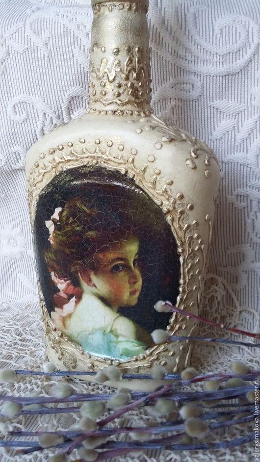 """Декоративная посуда ручной работы. Ярмарка Мастеров - ручная работа. Купить """"Mon amour, mon ami...."""" Интерьерная бутылочка. Handmade."""