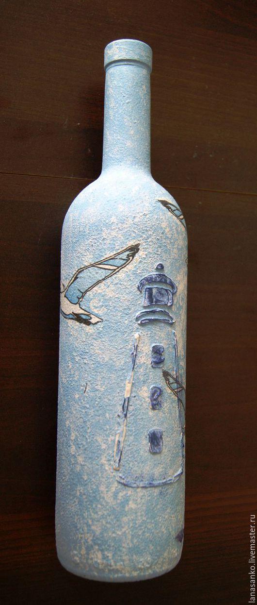 """Подарочное оформление бутылок ручной работы. Ярмарка Мастеров - ручная работа. Купить Бутылка декоративная """"О, море!"""". Handmade. Голубой"""