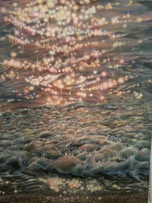 """Пейзаж ручной работы. Ярмарка Мастеров - ручная работа. Купить Картина """"Волна"""". Handmade. Синий, песок, солнечный свет, рассвет"""