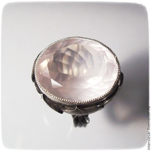 Кольца ручной работы. Ярмарка Мастеров - ручная работа. Купить Перстень с розовым кварцем. Handmade. Бледно-розовый