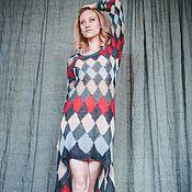 """Одежда ручной работы. Ярмарка Мастеров - ручная работа Платье """"Шлейф Шахматной королевы"""" из мохера на шелке. Handmade."""