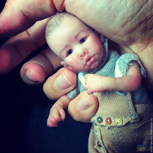 Куклы-младенцы и reborn ручной работы. Ярмарка Мастеров - ручная работа. Купить Max 12 см. Handmade. Серый