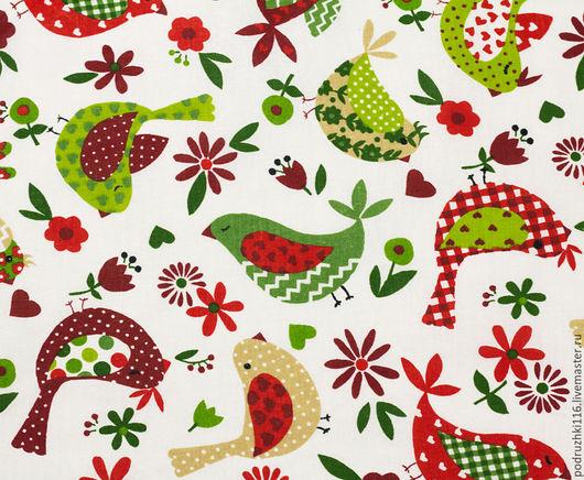 Шитье ручной работы. Ярмарка Мастеров - ручная работа. Купить Ткань Хлопок Птички Красно-зеленые. Handmade. Бязь
