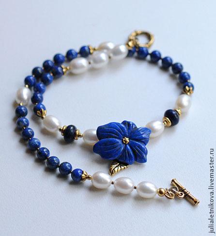 """Колье, бусы ручной работы. Ярмарка Мастеров - ручная работа. Купить Колье - чокер """"Blue flower"""" лазурит, жемчуг, позолота. Handmade."""