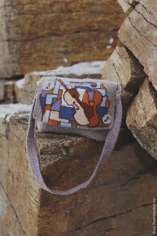 Женские сумки ручной работы. Ярмарка Мастеров - ручная работа. Купить сумка из войлока. Handmade. Серый, арт-сумка