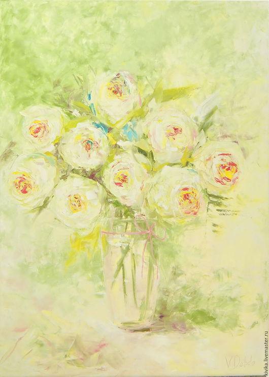 Картины цветов ручной работы. Ярмарка Мастеров - ручная работа. Купить Белые розы картина маслом 70 на 50 холст нежная и воздушная шебби шик. Handmade.