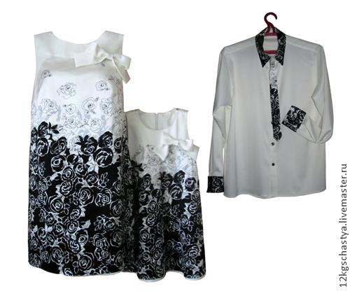 """Платья ручной работы. Ярмарка Мастеров - ручная работа. Купить Платья для мамы и дочки и рубашка для папы """"Иллюзия луны"""". Handmade."""