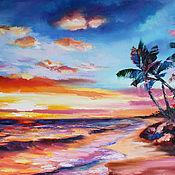 Картины и панно handmade. Livemaster - original item Oil painting with seascape 40/50 cm.. Handmade.