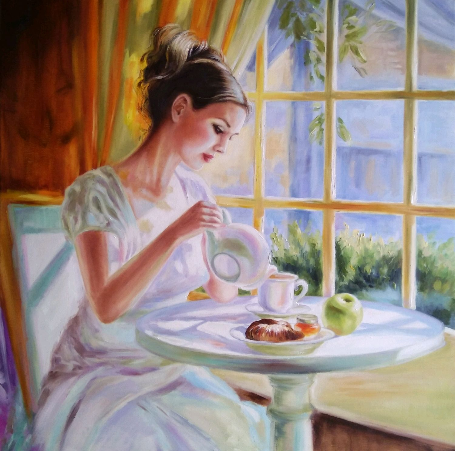 Oil painting with girl Summer tea, Pictures, Zhitomir,  Фото №1