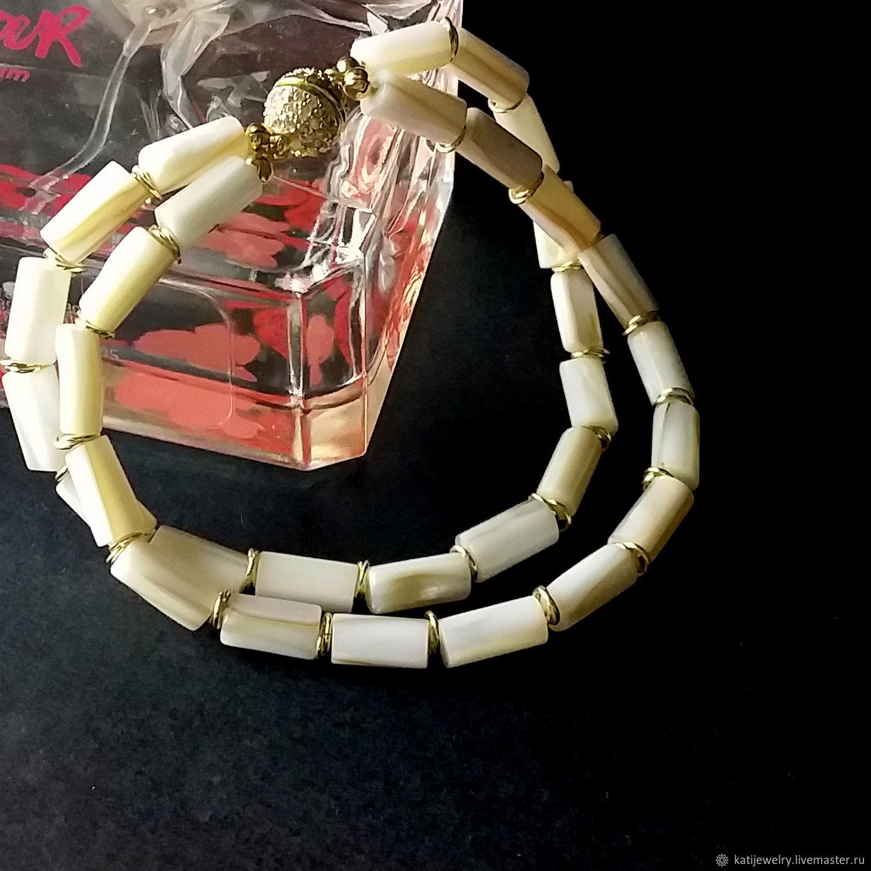 Bracelet mother of pearl in gold 24K, Bead bracelet, Rostov-on-Don,  Фото №1