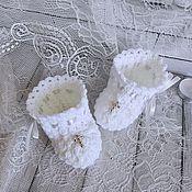 Работы для детей, handmade. Livemaster - original item Christening booties, booties for christening. Handmade.