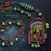 Украшения handmade. Livemaster - original item GREEN Summer City, pendant (copper, enamel, lampwork). Handmade.
