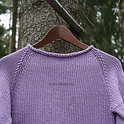 Одежда handmade. Livemaster - original item Lilac sweater made of 100% cotton with oval back. Handmade.