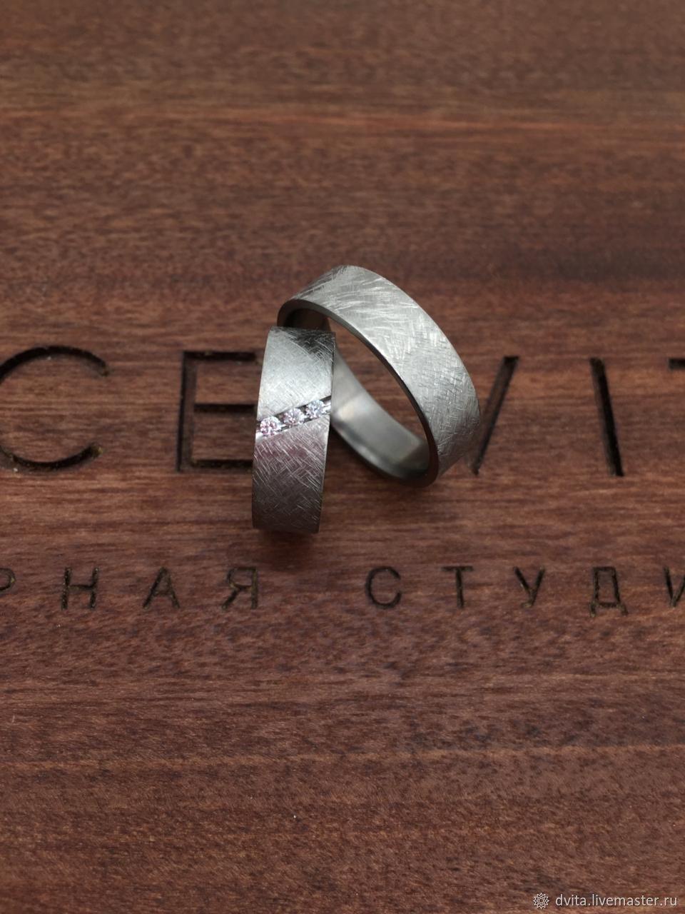 Обручальные Кольца из титана с бриллиантами, Кольца, Санкт-Петербург,  Фото №1