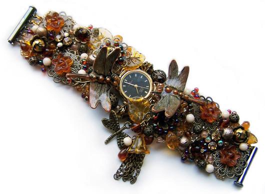 Часы ручной работы. Ярмарка Мастеров - ручная работа. Купить Часы-браслет и кольцо в медово-бронзовых тонах. Handmade. Часы
