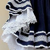 Одежда ручной работы. Ярмарка Мастеров - ручная работа Юбка летняя синяя Бохо для Елены. Handmade.