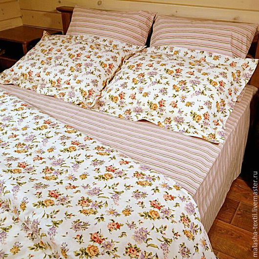 """Текстиль, ковры ручной работы. Ярмарка Мастеров - ручная работа. Купить Комплект постельного белья """"Проснуться в Провансе"""" бежевый. Handmade."""