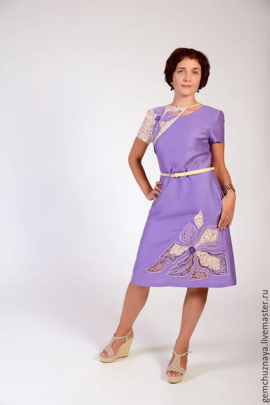 Платья ручной работы. Ярмарка Мастеров - ручная работа. Купить Городской прованс. Handmade. Сиреневый, ажурное платье, вышивка на одежде