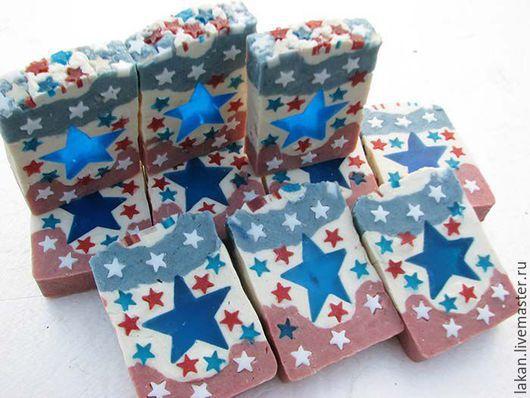 Капитан Америка.  Мыло с нуля  с розовой и голубой глинами. Творческая мастерская `Лакан`