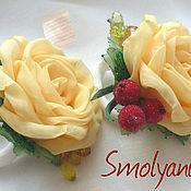 Работы для детей, handmade. Livemaster - original item Clip with roses. Handmade.