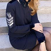 Одежда handmade. Livemaster - original item Designer dark blue Owl dress. Tight dress sport chic. Handmade.