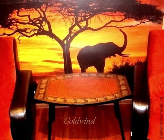 """Мебель ручной работы. Ярмарка Мастеров - ручная работа. Купить Стол журнальный""""Индийский слон"""". Handmade. Разноцветный, ламинирование, салфетка для декупажа"""