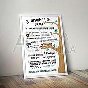 Материалы для творчества handmade. Livemaster - original item Digital poster for printing house Rules A4 A3 format. Handmade.