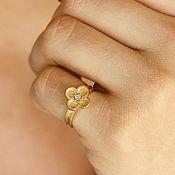 Украшения handmade. Livemaster - original item Gold Flower Ring, Diamond Flower Ring, New year eve jewelry, Rose Gold. Handmade.