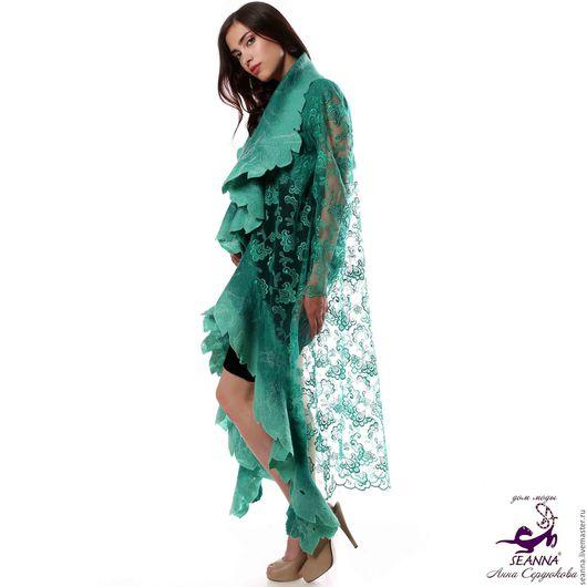 Верхняя одежда ручной работы. Ярмарка Мастеров - ручная работа. Купить Пальто-накидка Яркая Зелень ручной работы в любом размере, длине. Handmade.