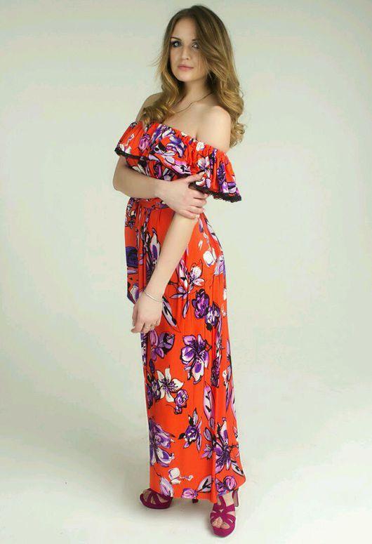 Платья ручной работы. Ярмарка Мастеров - ручная работа. Купить Летнее платье с воланом. Handmade. Рыжий, платье с воланами