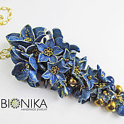 "Украшения handmade. Livemaster - original item Pendant with blue flowers polymer clay ""Blue flower"". Handmade."